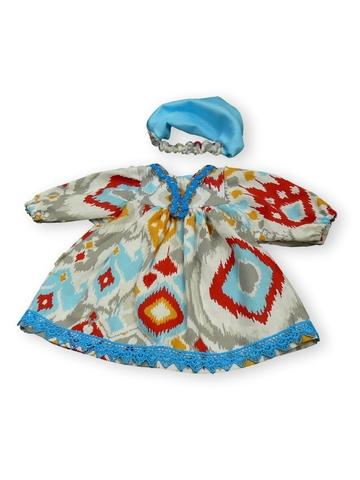 Платье этническое - Бирюзовый. Одежда для кукол, пупсов и мягких игрушек.