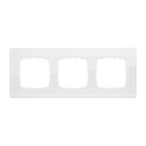 Рамка на 3 поста, натуральное стекло. Цвет Белый. LK Studio LK80 (ЛК Студио ЛК80). 844313-1