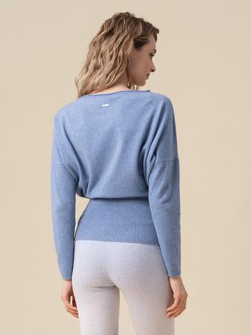 Женский джемпер голубого цвета из 100% кашемира - фото 2