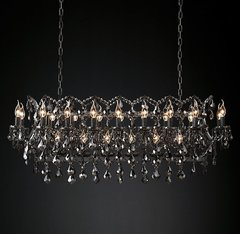 19th C. Rococo Iron & Smoke Crystal Rectangular Chandelier 52