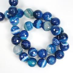 Бусина Агат, шарик с огранкой, цвет - синий с белыми полосками (тониров.), 10 мм, нить