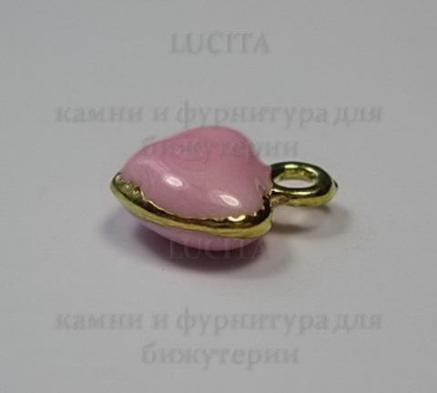 """Подвеска с эмалью """"Розовое сердечко"""" 11х10 мм (цвет - золото)"""