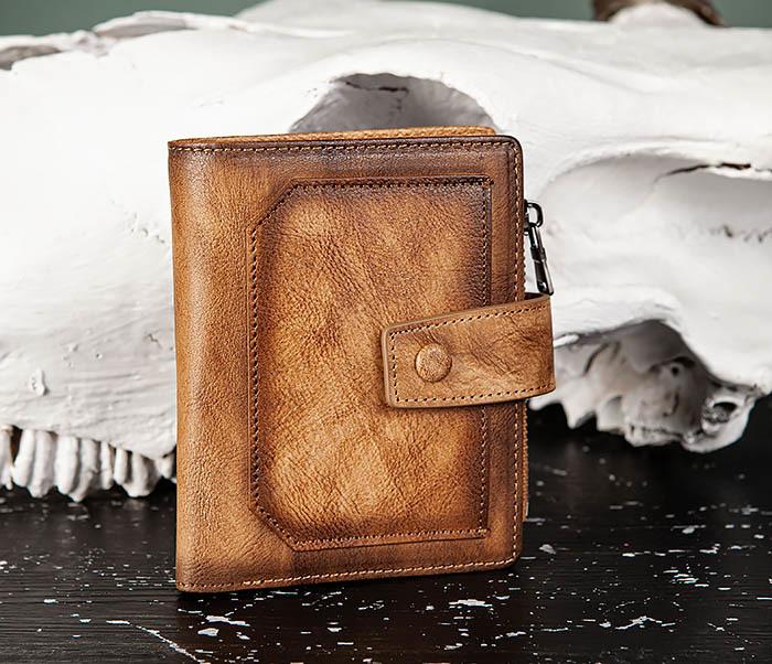 WL330-2 Коричневый мужской кошелек с монетницей на «молнии»