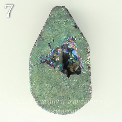 Бусина Агат с Кварцем с жеодой (тониров), цвет - бензиновый, 34-44 мм (№7 (41х27 мм))