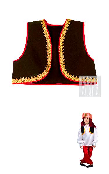 Испанский жилет выполнен из прочного износостойкого материала - габардина. Изделие отделано красной тесьмой и украшено золотой ажурной тесьмой.