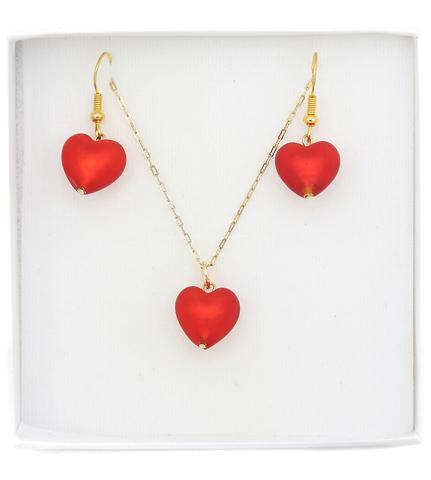 Комплект украшений в виде сердца красный Cuori