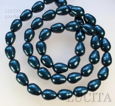 5821 Хрустальный жемчуг Сваровски Crystal Petrol грушевидный 11х8 мм