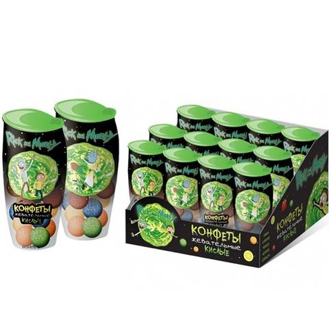РИК И МОРТИ Кислые жевательные конфеты в баночке 1кор*12бл*24шт, 15г.