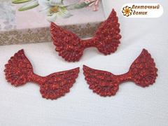 Декор глиттерный крылья красные