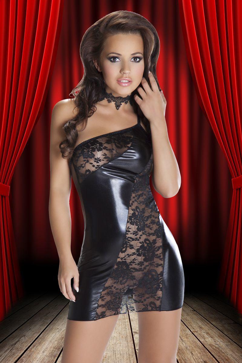 БОЛЬШИЕ размеры: Смелое платье Sila из кружев и ткани с wet-эффектом