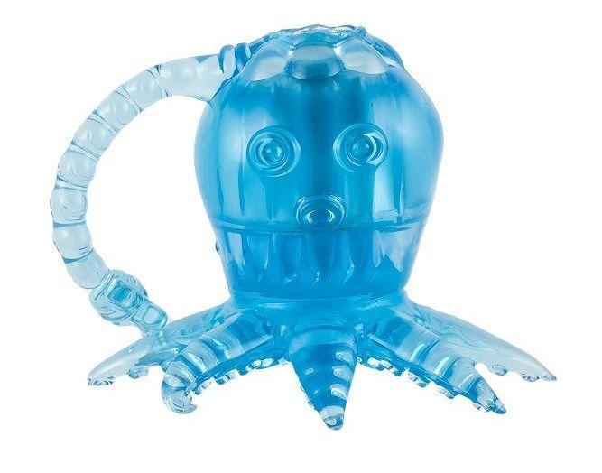 Вибростимуляторы, вибропульки: Голубой вибростимулятор в виде осьминога