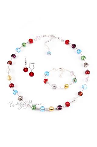 Комплект Carnavale Argento (красные серьги на серебре, ожерелье, браслет)