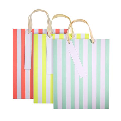 Пакеты подарочные в полоску, неон, 20х25,5см, 3шт.