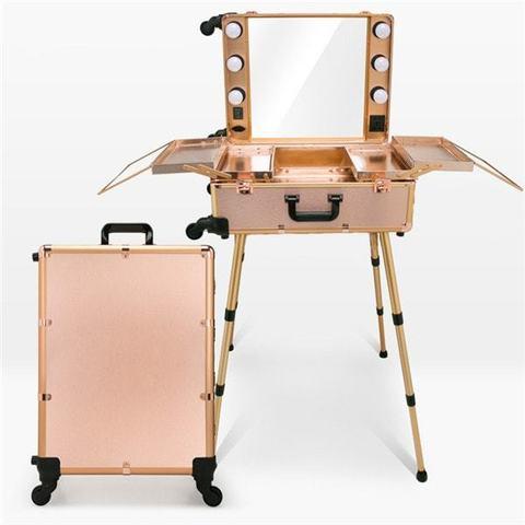 Мобильная студия визажиста. Складная, на колесиках и лампами. Цвет нюд.