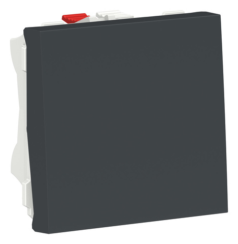 Выключатель кнопочный одноклавишный. 2 модуля Цвет Антрацит. Schneider Electric. Unica Modular. NU320654