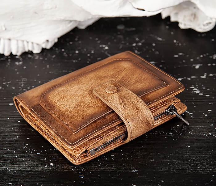 WL330-2 Коричневый мужской кошелек с монетницей на «молнии» фото 04