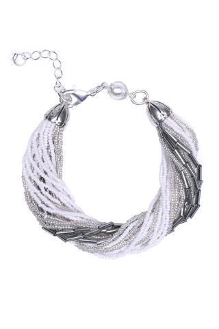 Бисерный браслет, 24 нити, серебристо-белый