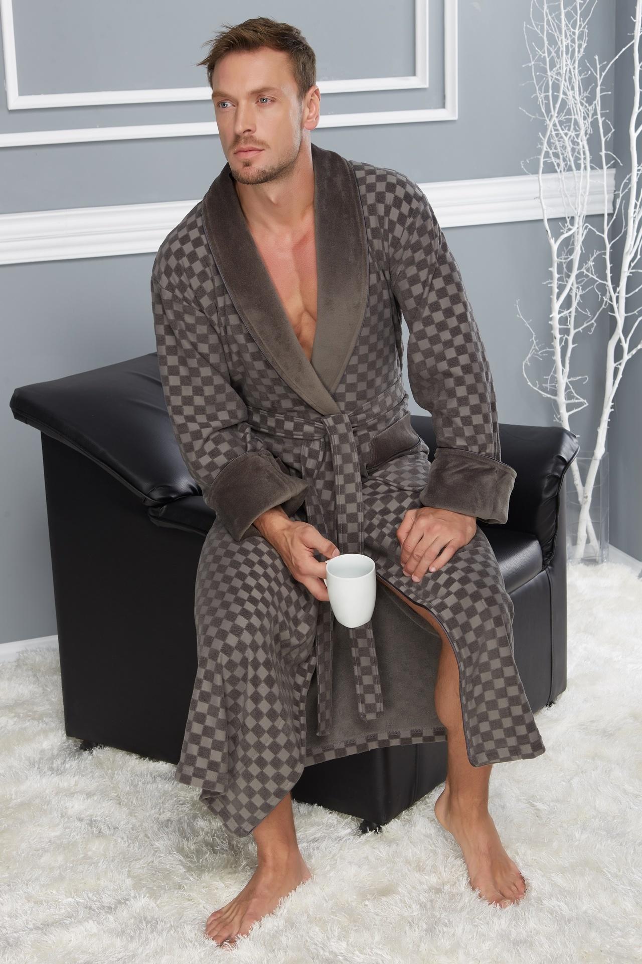Легкие халаты Классический мужской халат 2950-3 хаки  Nusa Турция 2950-3_khaki-1.jpg