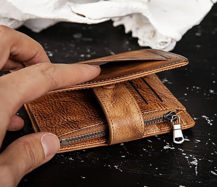 WL330-2 Коричневый мужской кошелек с монетницей на «молнии» фото 05