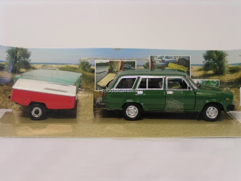 VAZ-2104 Lada green with trailer Skif-M red-white Agat Mossar Tantal 1:43