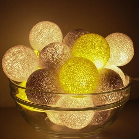 Гирлянда из тайских фонариков желто-серая