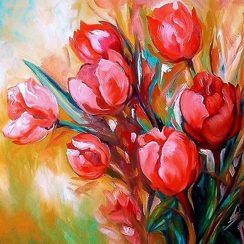 Букет тюльпанов- алмазная картина