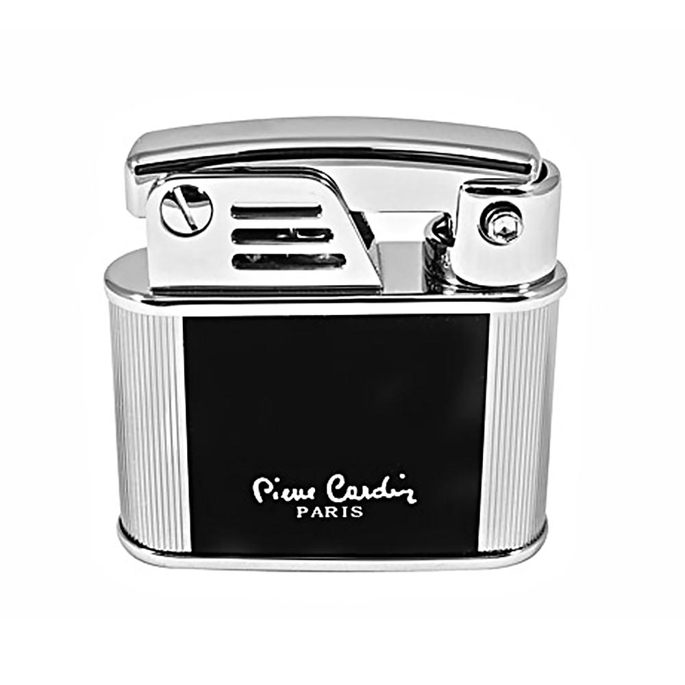 Зажигалка Pierre Cardin кремниевая газовая, цвет серебристый/черный лак, 4,4х1,5х4,4см