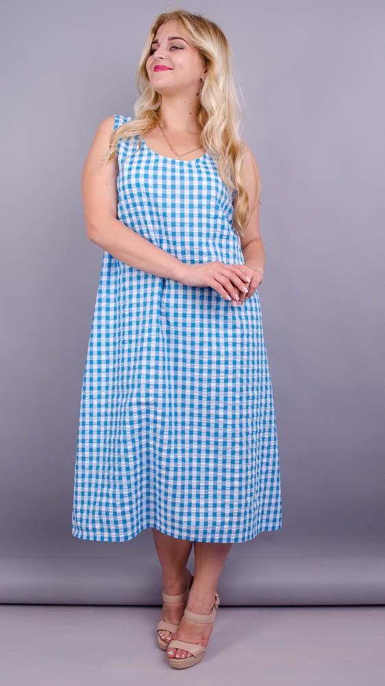 Море. Практична сукня великих розмірів. Блакитна клітинка.