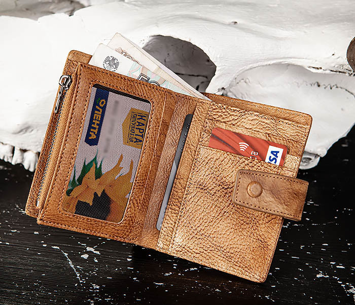 WL330-2 Коричневый мужской кошелек с монетницей на «молнии» фото 07