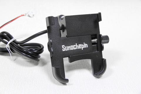 Металлический крепеж с USB-разъемом для смартфонов на руль мото