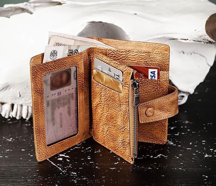 WL330-2 Коричневый мужской кошелек с монетницей на «молнии» фото 08