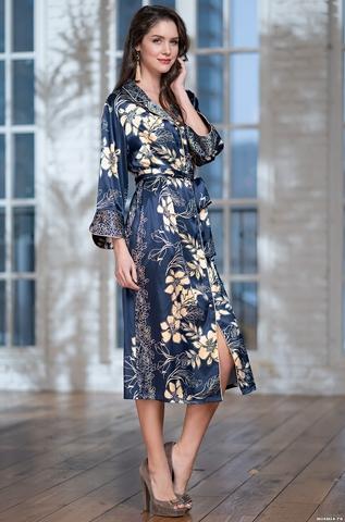 Халат женский на пуговицах MIA-AMORE BLUE-MARINE Блю Марин 8449