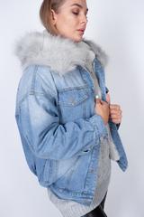 джинсовая куртка с мехом женская зима недорого