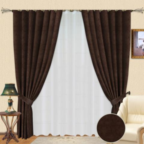 Комплект штор из софта Стефани коричневый