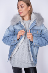 джинсовая куртка с мехом женская зима магазин