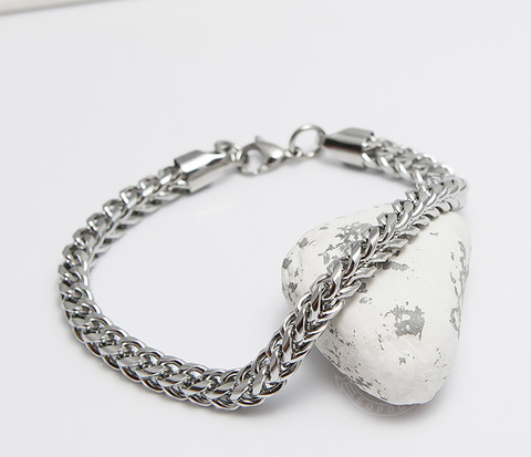 Лаконичный мужской браслет цепь из стали (25 см)