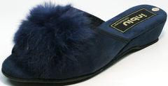 Тапочки пушистые женские Inblu RR-7S Dark Blue