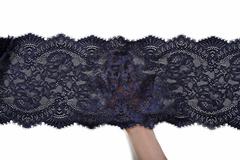 Кружево эластичное черно-синее 23 см