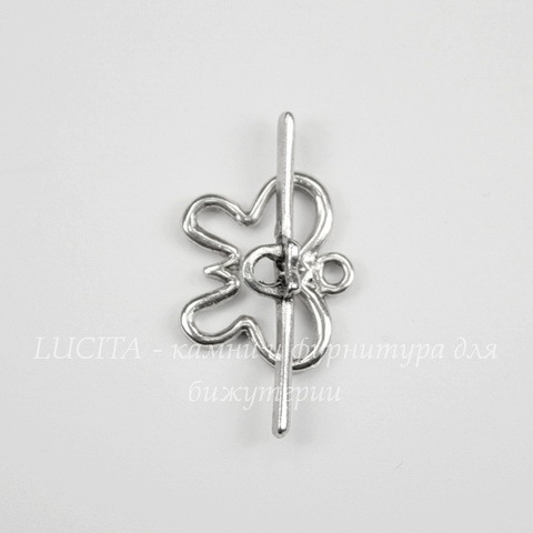 """Замок - тоггл из 2х частей """"Бабочка"""" (цвет - античное серебро), 20х17 мм, 32 мм"""