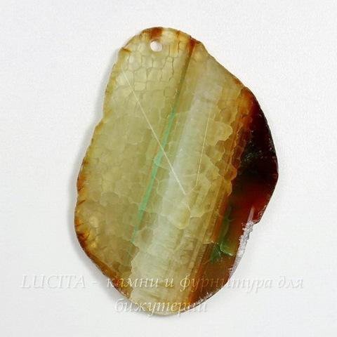 Подвеска Агат Крэкл (цвет - прозрачно-песочный + прозрачно-белый + светло-коричневый) 52,2х36,1х12 мм №2