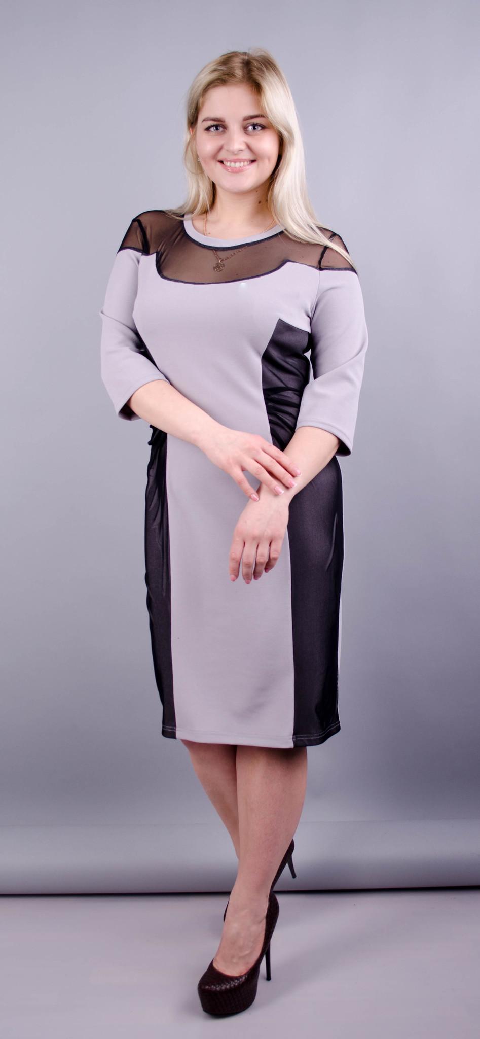 Ада. Романтична сукня плюс сайз. Сірий.