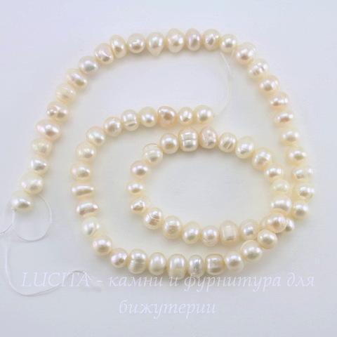 Бусина Жемчуг (категория А), цвет - белый, 5 мм, нить