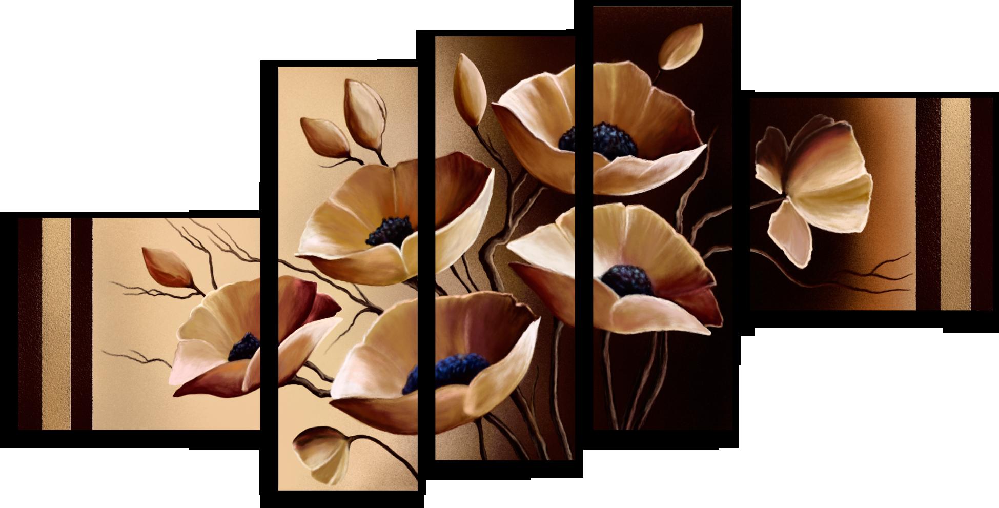 """Модульные картины Модульная картина""""Бежевые цветы"""" М284.png"""