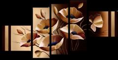 """Модульная картина""""Бежевые цветы"""""""
