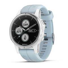 Компактные мультиспортивные часы Garmin Fenix 5S Plus - белые с голубым ремешком 010-01987-23