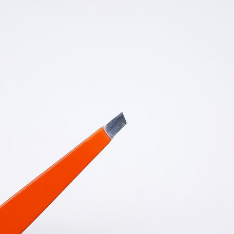 Пинцет для бровей скошенный оранжевый, РАЗМЕР: 95MM, RT-311
