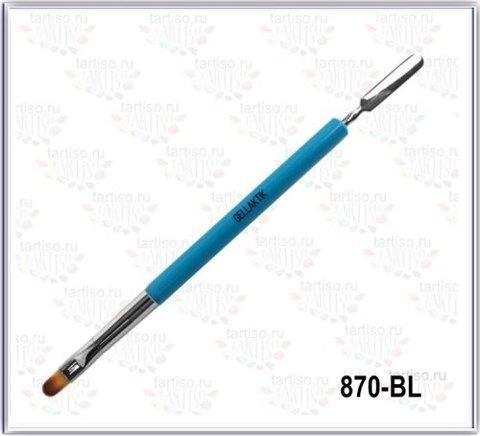 Кисть для геля с лопаточкой GELLAKTIK Голубая 870-BL