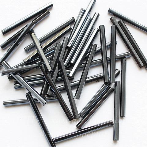 49102 Бисер Preciosa стеклярус граненый 25 мм, Ирис черный
