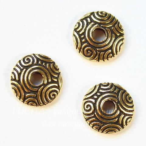 """Шапочка для бусины TierraCast """"Спирали"""" (цвет-античное золото) 11х3 мм"""