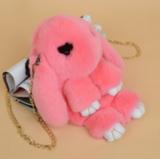 Сумка кролик (зайка) из натурального меха (Розовый)